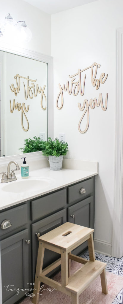 How to Create Big Style in a Small Bathroom | Girls' Bathroom Makeover | Bathroom Refresh | Simply White Walls