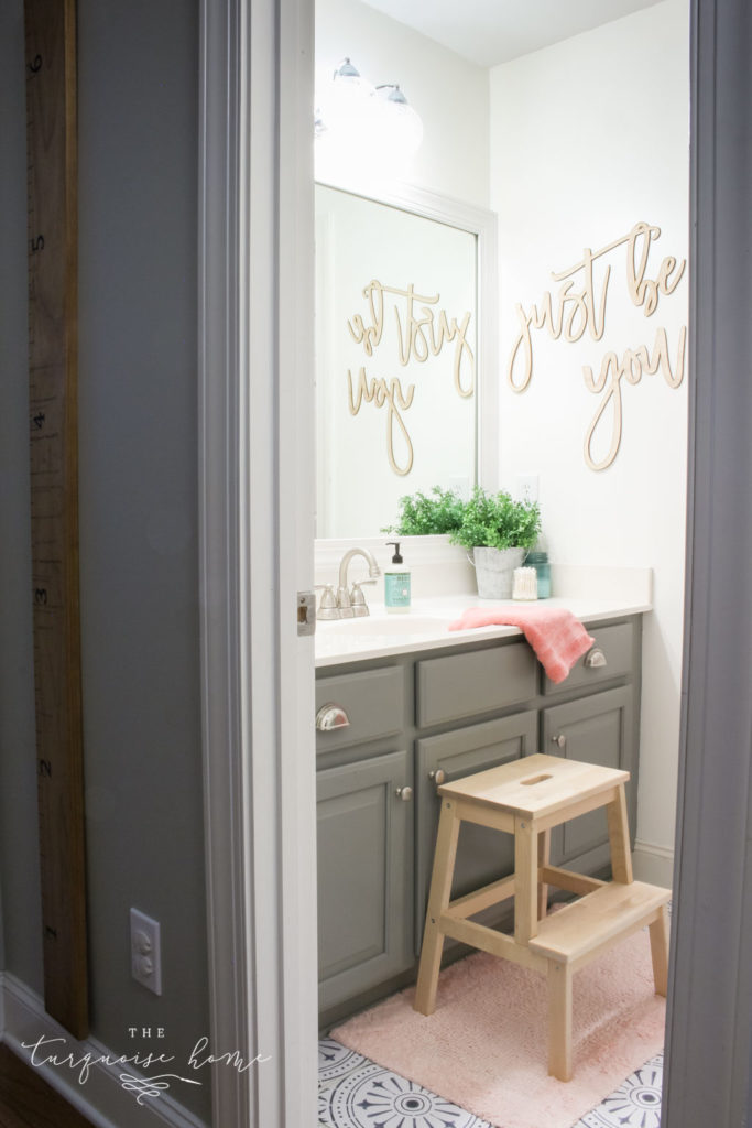How to Create Big Style in a Small Bathroom | The Girls' Bathroom Refresh Reveal | Light and Bright Bathroom without any natural light