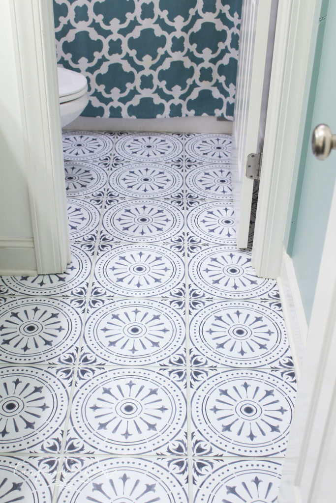 "DIY Peel and Stick Vinyl Tile Flooring --> gorgeous cheap DIY flooring option | Gray and White peel and stick tile | girls bathroom makeover"" class=""wp-image-30174″/></figure> <p><br></p> <p><a href="