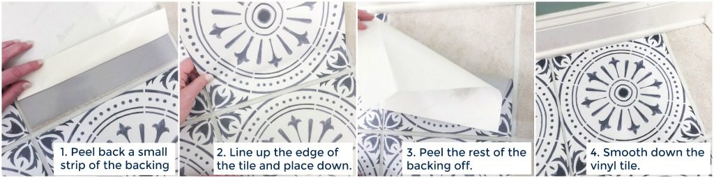 DIY Peel and Stick Vinyl Tile Flooring --> how to place the tile down perfectly every time!