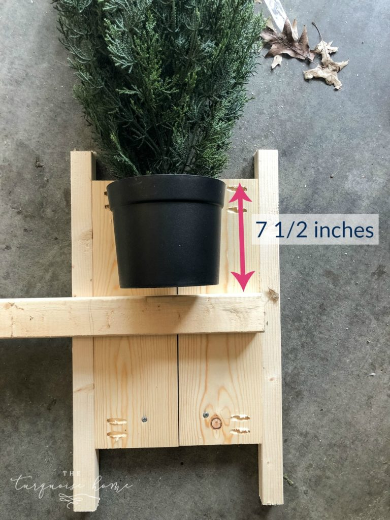 DIY Wood Planter -->> Measure your plant and make sure it will fit and then add your cleat where you need it.