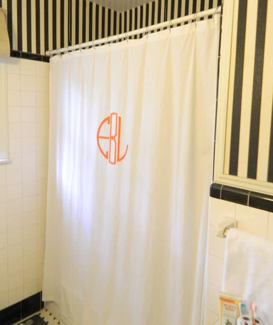 DIY monogrammed shower curtain