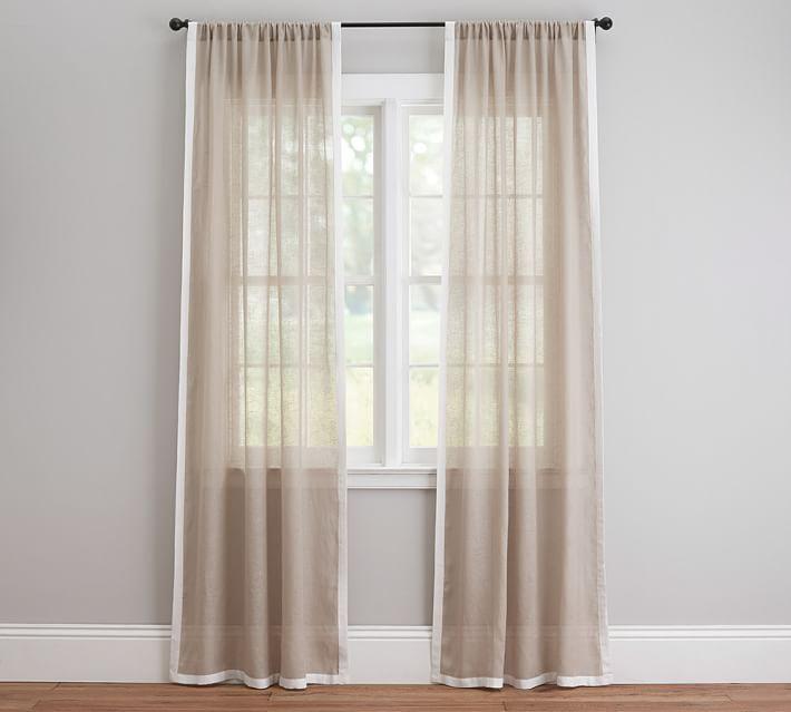 Linen Sheer Drape with White Border - Cheap Curtain Ideas