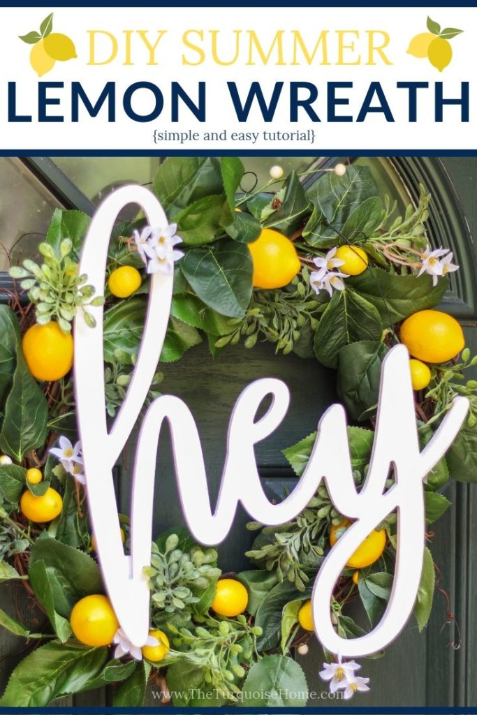 DIY Simple Summer Lemon Wreath - a quick and easy tutorial for a super cute summer wreath!