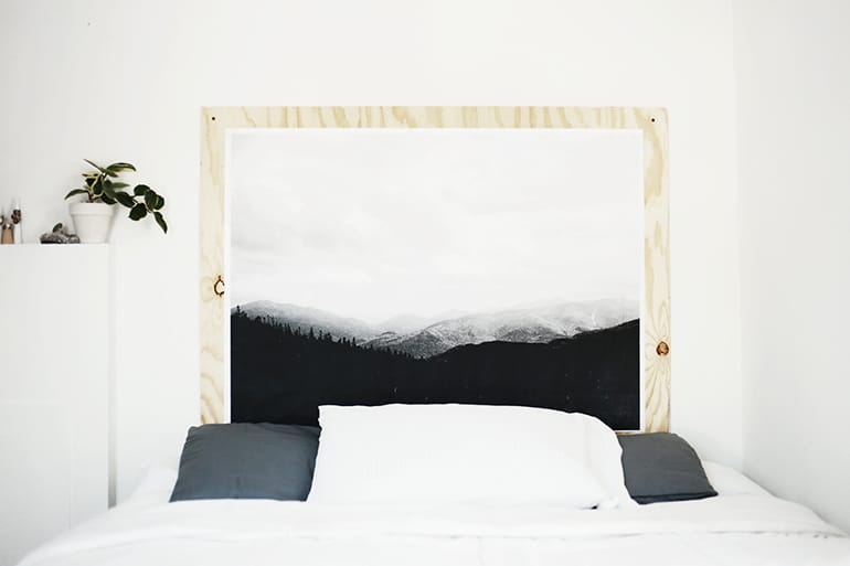 How to make a headboard: 13 Beautiful DIY Headboard Ideas - DIY Headboard made out of an engineer print and plywood