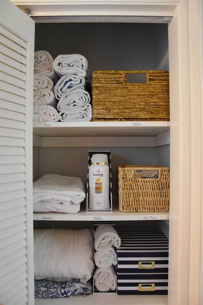 This post from Happy Family Blog is filled with tips about how to organize a linen closet. She first begins by purging all unnecessary extras, then grouping like items together. Her use of magazine holders are totally brilliant!