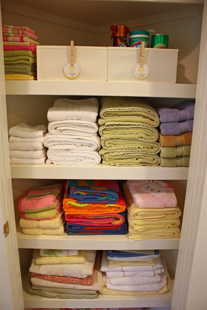 How to organize a linen closet without purchasing any new supplies!