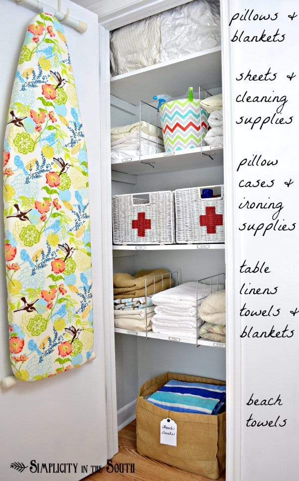 This linen closet organization post from Simplicity in the South is filled with super practical ideas paired with pretty finishes.