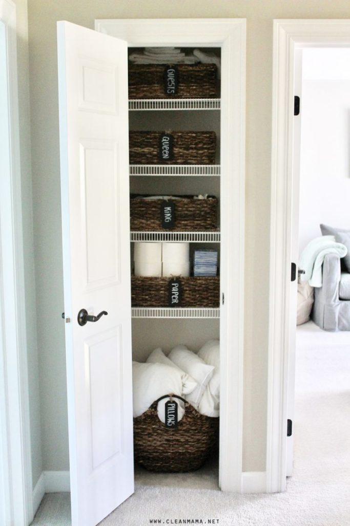 A simple and pretty way to organize a linen closet from Clean Mama shows just how much of a difference a basket (or several!) can make.