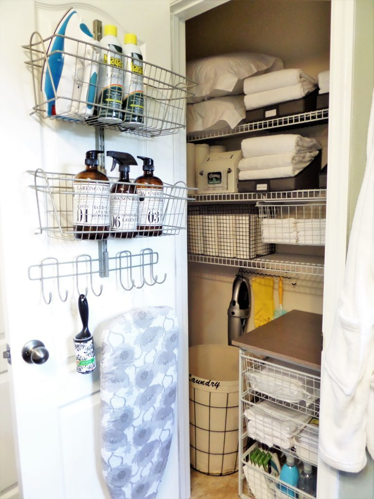 A great linen closet organization project if you have a lot of cleaning supplies along with linens to store in a small space from Be My Guest With Denise.