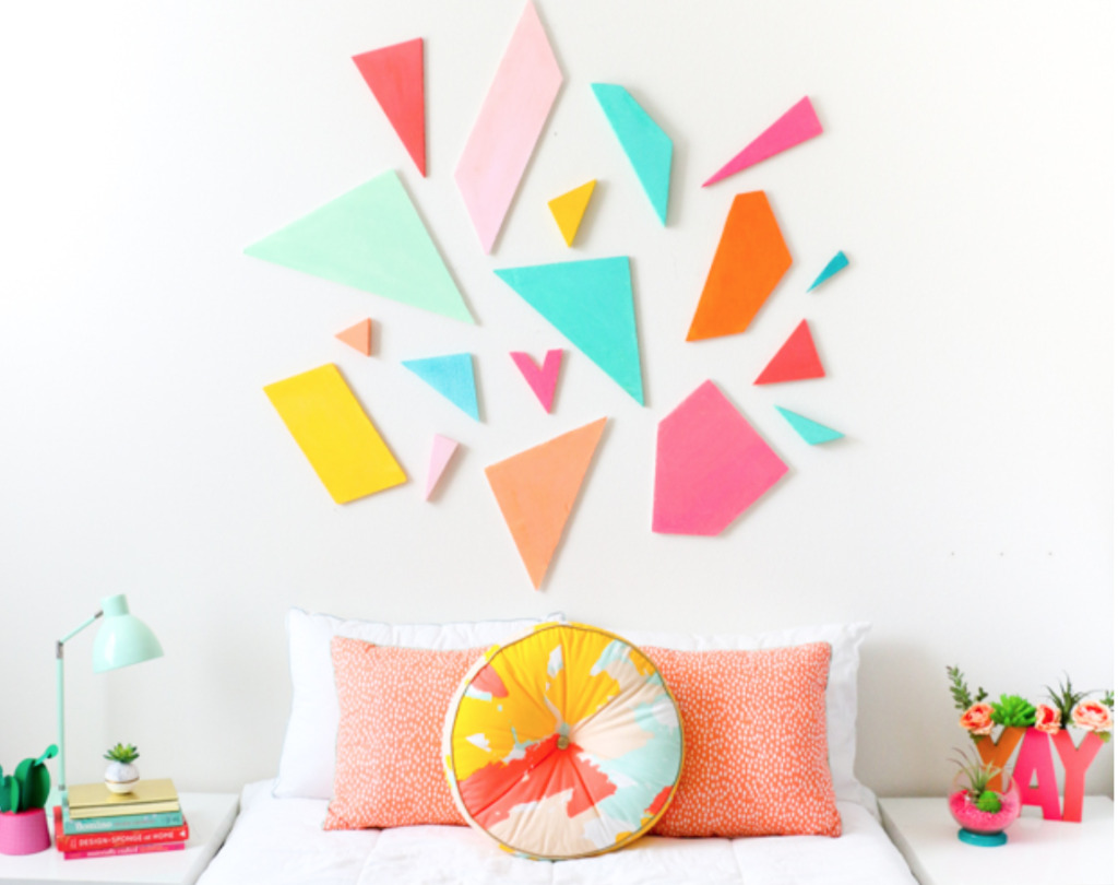 How to make a headboard: 13 Beautiful DIY Headboard Ideas - geometric art headboard