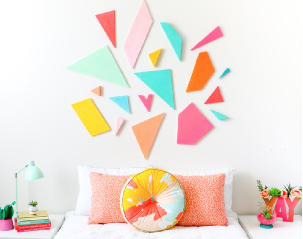 How to make a headboard: 13 Beautiful DIY Headboard Ideas - geometric art headboard
