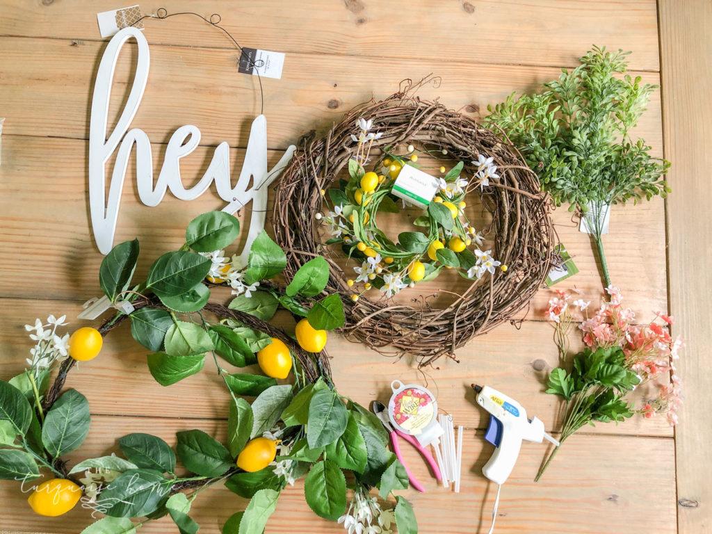 Supplies for Making Summer Lemon Wreath