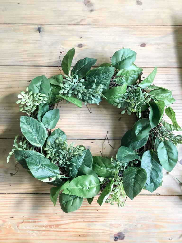 DIY Summer Lemon Wreath: start with the larger greenery pieces