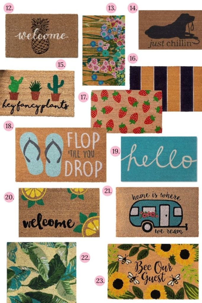 25+ Adorable Summer Doormats the you will LOVE! Brighten up your front door with one of these cute doormats! #doormat #frontdoordecor #frontdoor #homedecoronabudget #summerdecor #summerstyle
