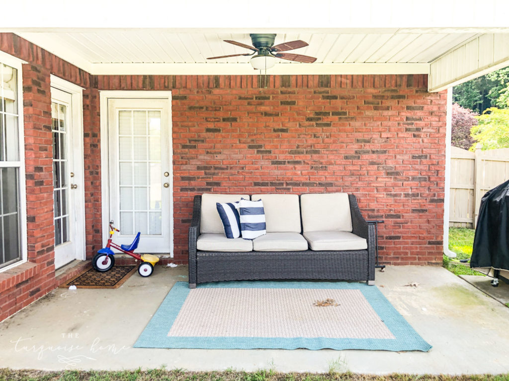 How to Paint a Concrete Patio - before photo