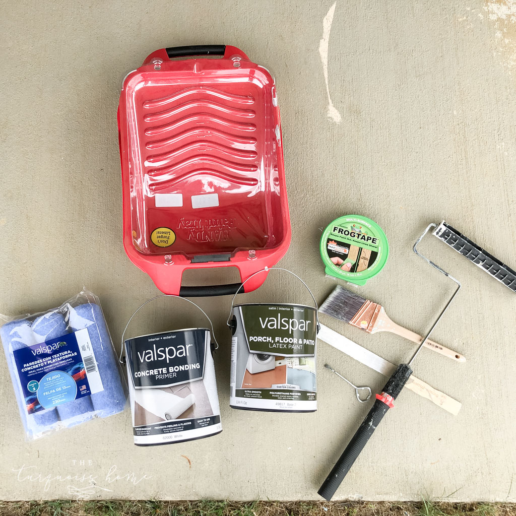 How to Paint a Concrete Patio - supplies you will need: paint roller, paint tray, porch paint, painter's tape