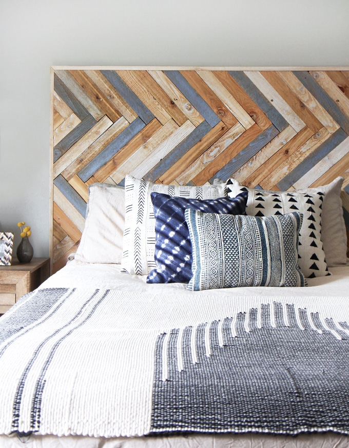How to make a headboard: 13 Beautiful DIY Headboard Ideas - Herringbone Wood Headboard