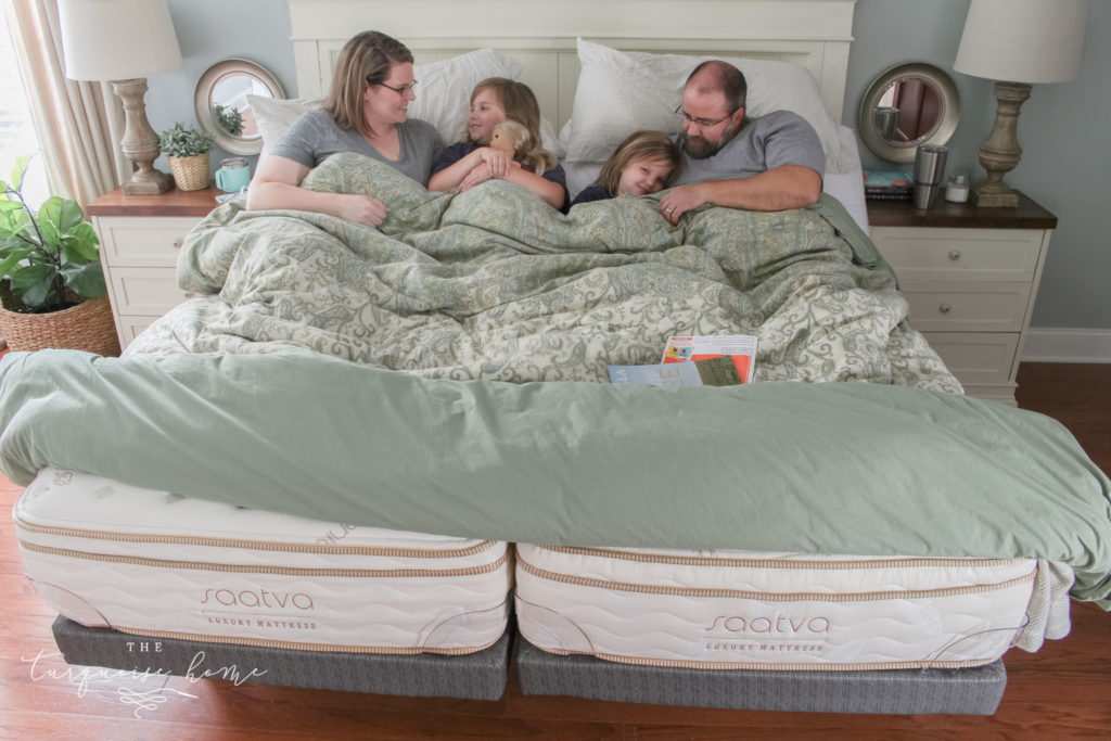 The Marriage Hack you didn't know you needed! Love our 2 twin Saatva Mattresses with adjustable bases. | Benefits of sleeping in separate beds - kids can sometimes push the beds apart, but it's no big deal!