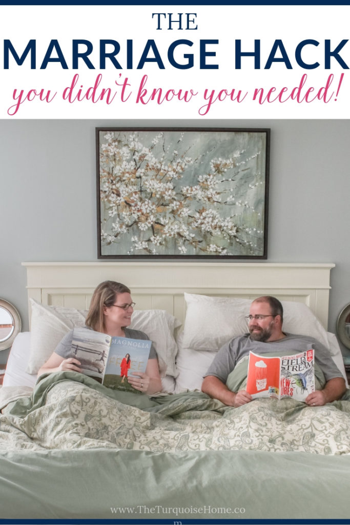 The Marriage Hack You Didn't Know You Needed!  | Pros and Cons to Sleeping in Separate Beds | Couple smiling at each other in two twin beds reading magazines