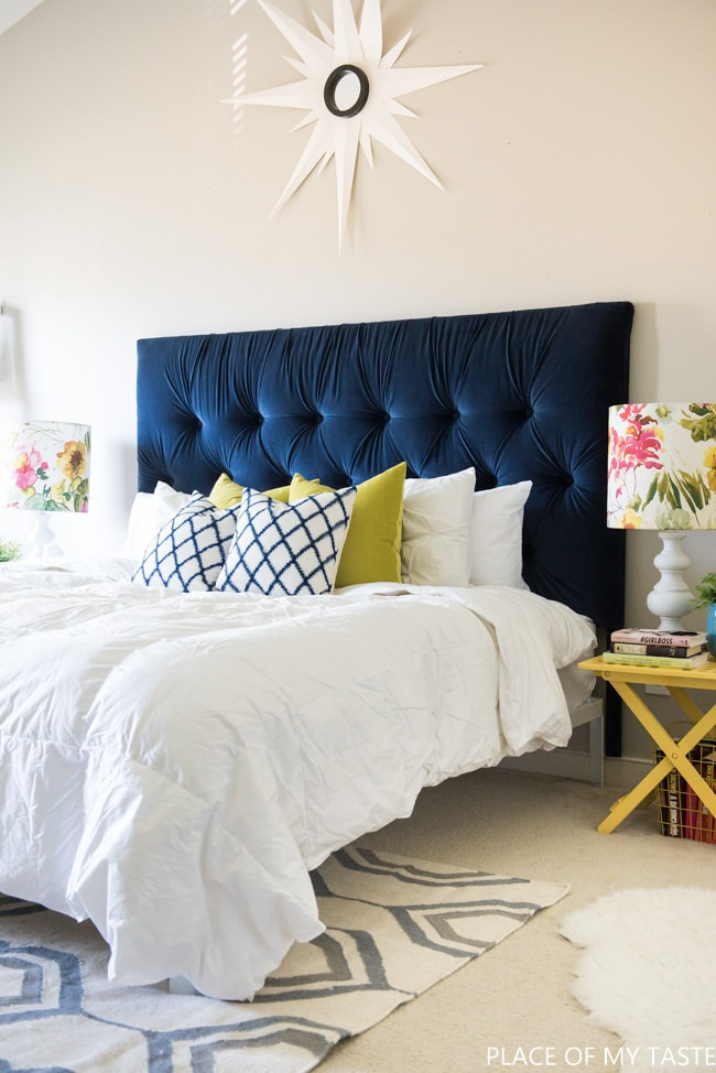 DIY Tufted Headboard with Indigo Velvet Fabric - How to make a headboard: 13 Beautiful DIY Headboard Ideas