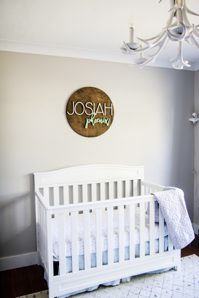 Little boy's nursery with Agreeable Gray by Sherwin Williams.