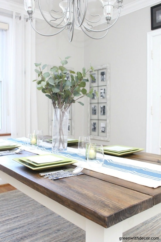 A dining room with Agreeable Gray by Sherwin Williams