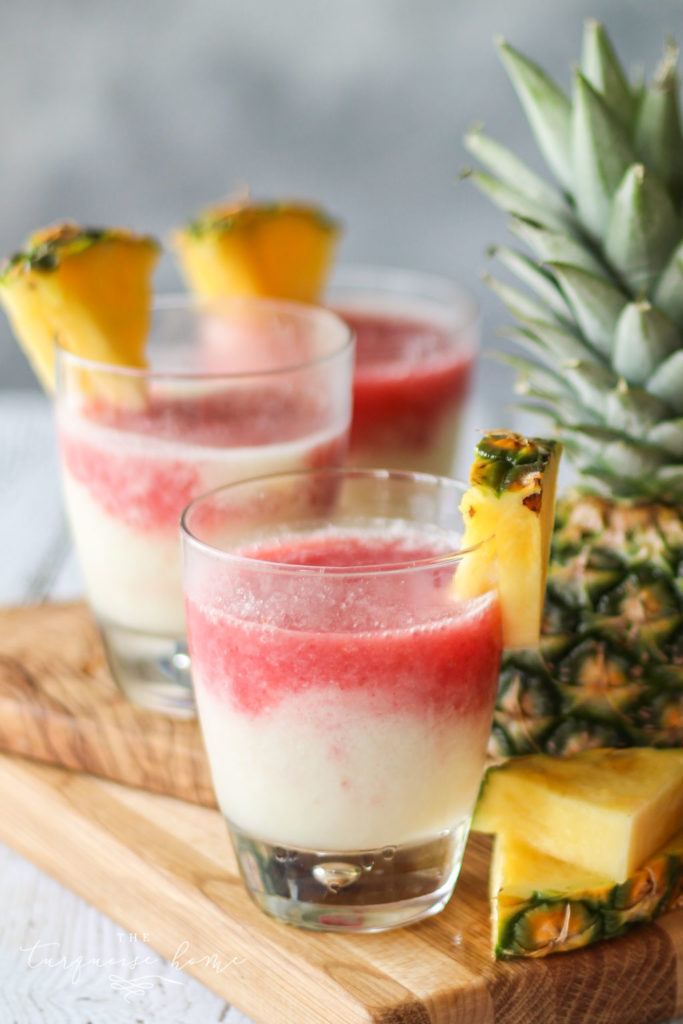 Delicious Lava Flow Cocktail combines strawberry, pineapple and coconut! So yum!