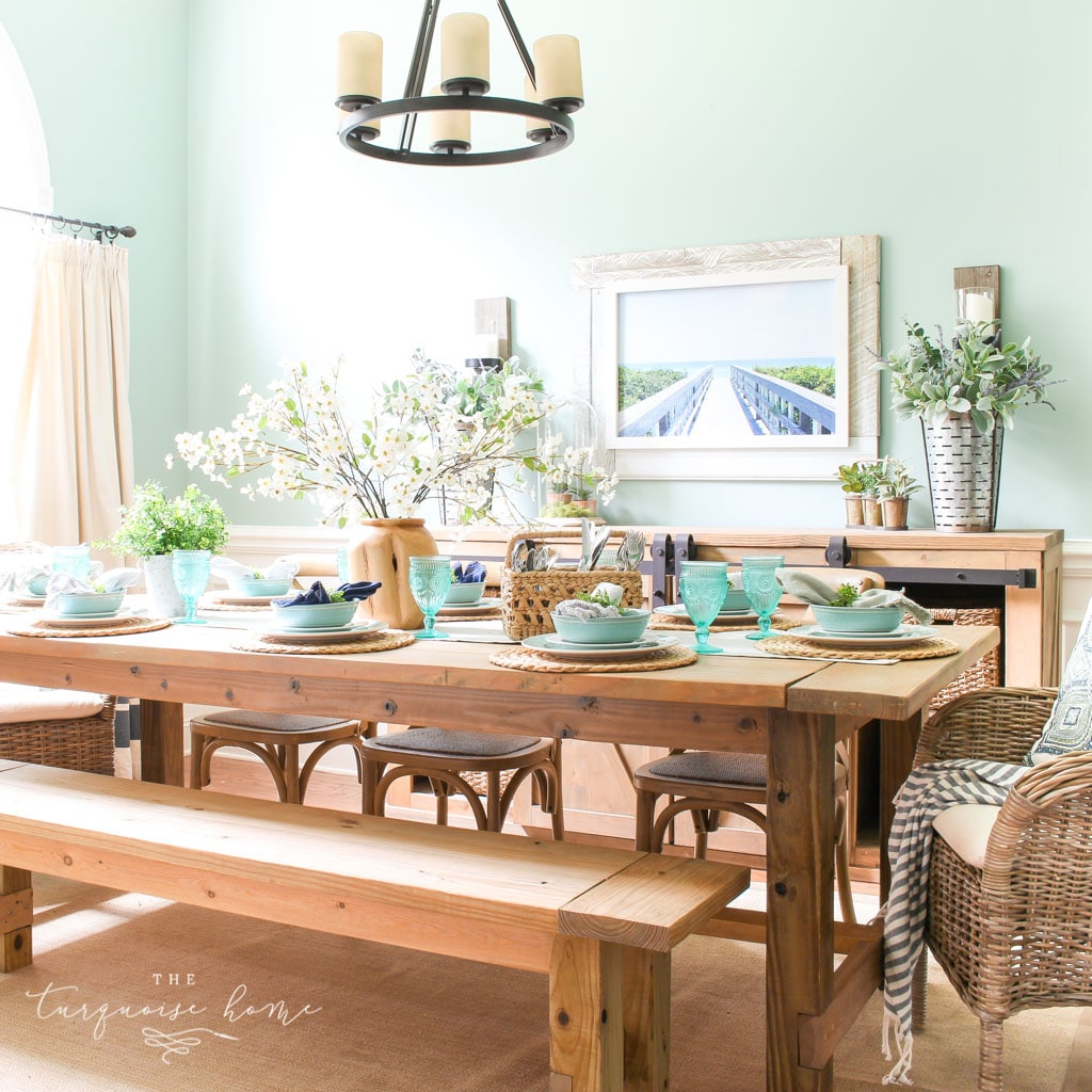 a Simple Summer Dining Room Tour - with turquoise plates and a gorgeous farmhouse table