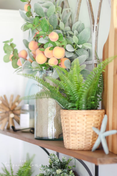 A Simple Peachy Summer Kitchen - with a scrumptious peach candle from Antique Candle Co.