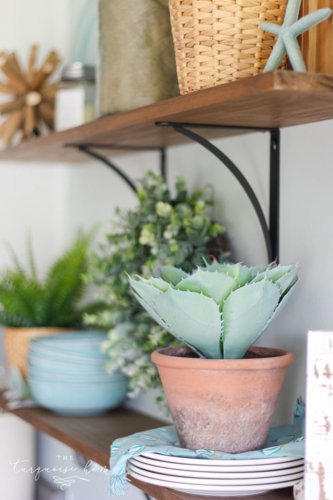 A Simple Peachy Summer Kitchen - terra cotta pot with cactus