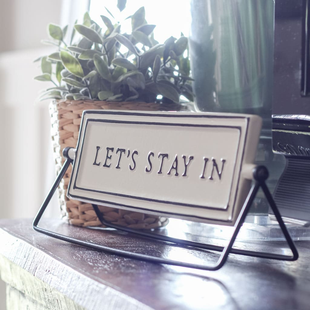 "A Simple Summer Mantel - ""let's stay in"" reversible sign"