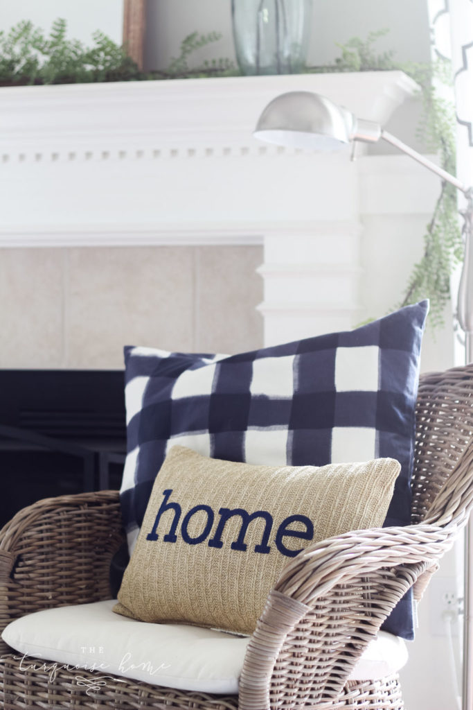 "A Simple Summer Mantel - ""home"" pillow with navy and natural colors"
