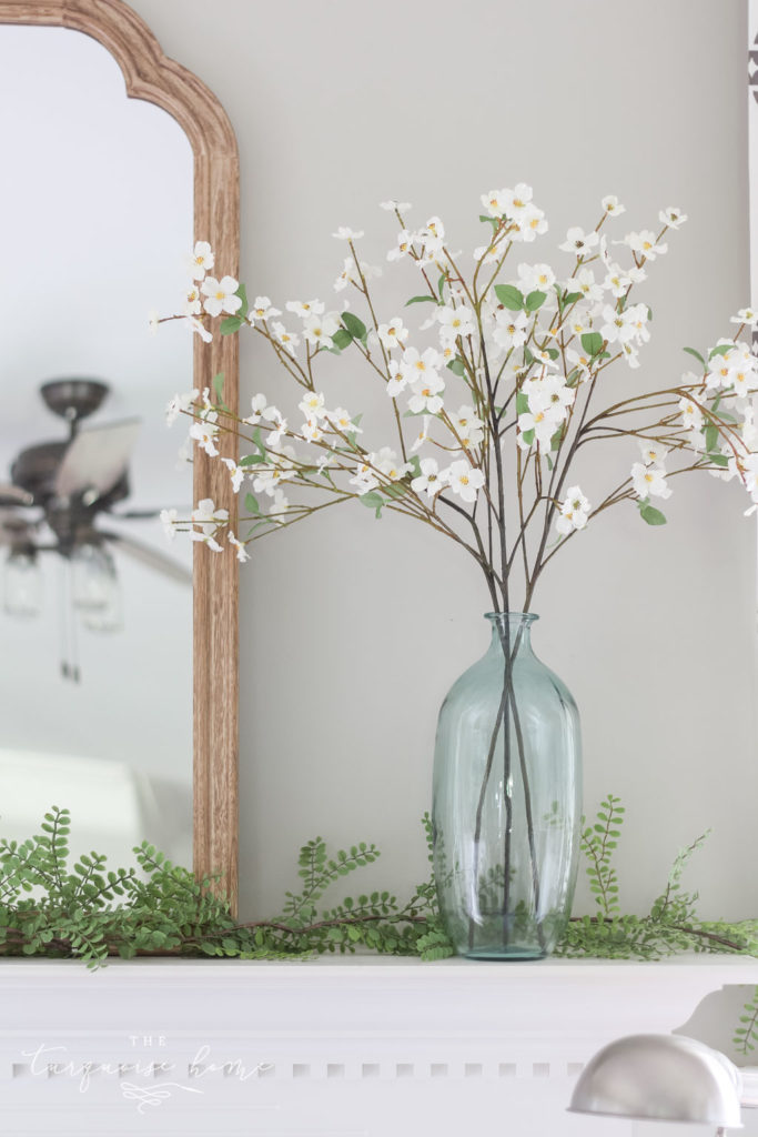 A Simple Summer Mantel -->> faux dogwood stems