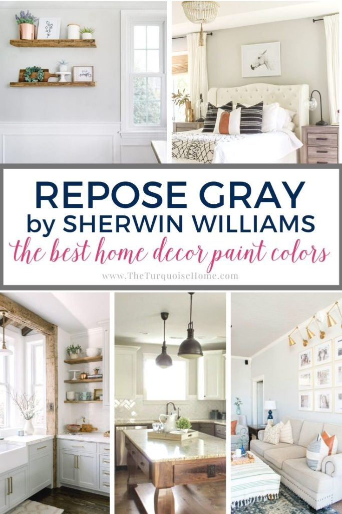 Repose Gray by Sherwin Williams is one of the most popular gray colors - and for good reason. It looks good in almost any room! See more here.... #paintcolors #sherwinwilliams #reposegray #homedecor