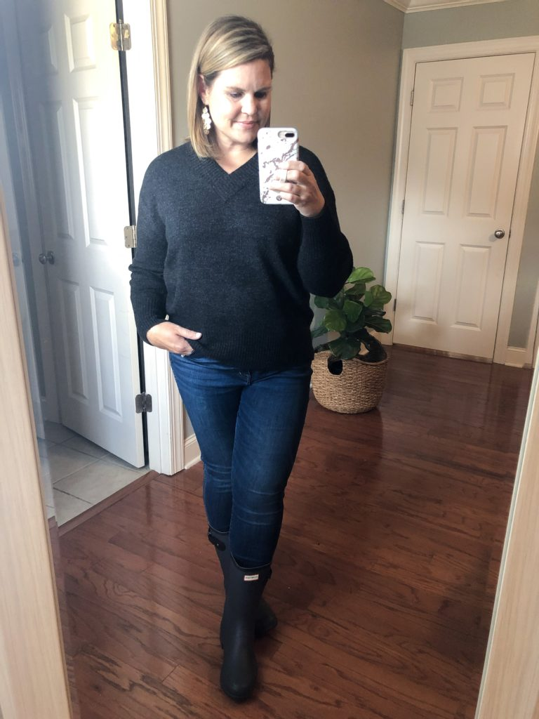 Basic V-neck Sweater and Hunter Boots from the Nordstrom Sale