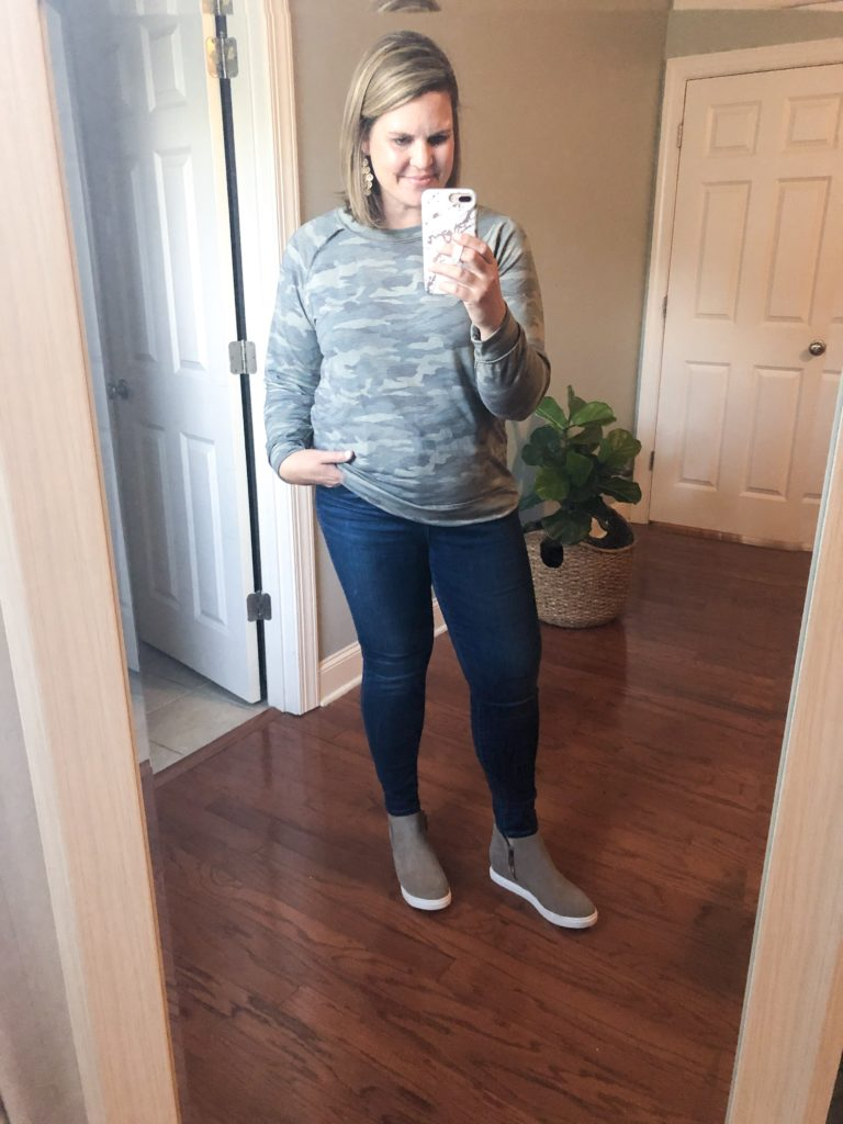 Camo sweatshirt, jean and wedge sneakers from the Nordstrom Sale