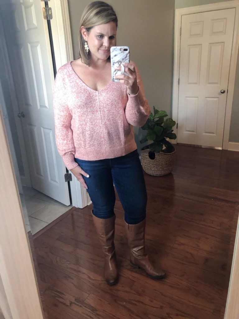 Pink Sweater perfect for date night from the Nordstrom Anniversary Sale + Sam Edelman boots