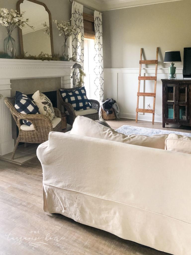 New Luxury Vinyl Plank floors | COREtec Boardwalk Oak flooring | LVP - living room with engineered vinyl flooring
