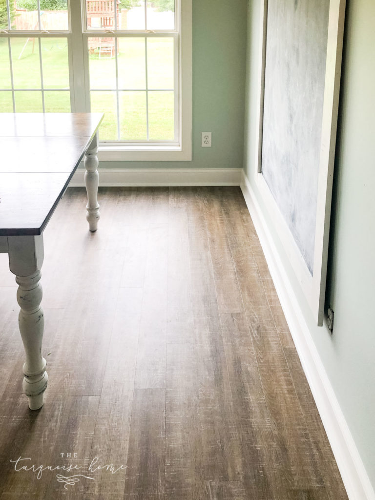 New Luxury Vinyl Plank floors | COREtec Boardwalk Oak flooring | LVP - the coastal farmhouse style of these floors are perfect for my home!