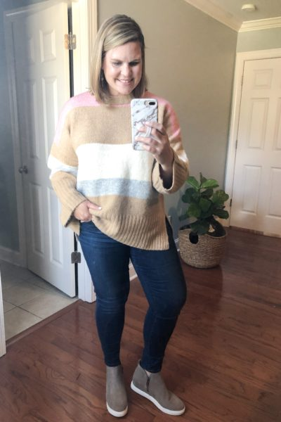 The best wedge sneakers and chunky color block sweater from the Nordstrom Anniversary Sale