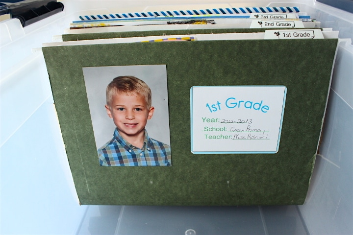 Filing system for kids art papers