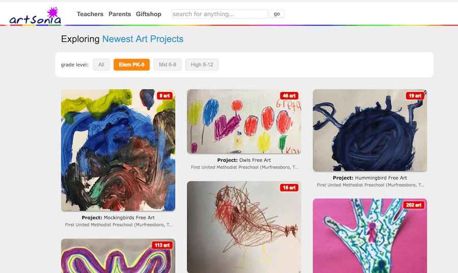 Online app for storing kids artwork