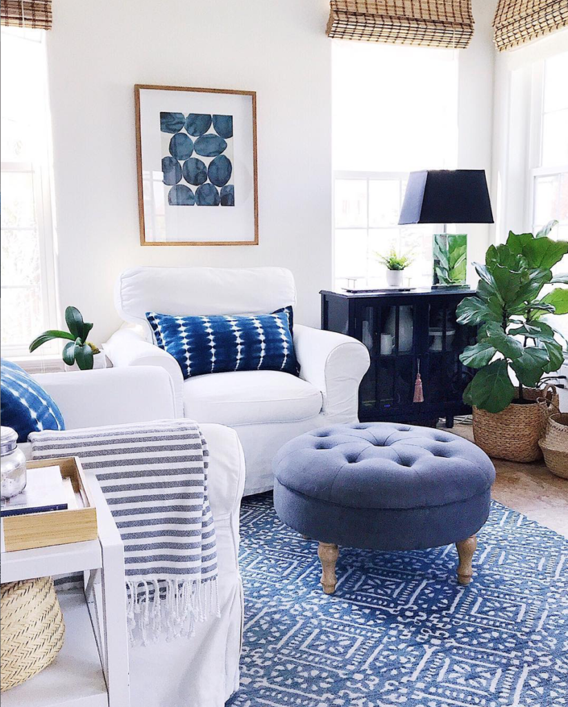 Blue and White Living Room from Jane at Home