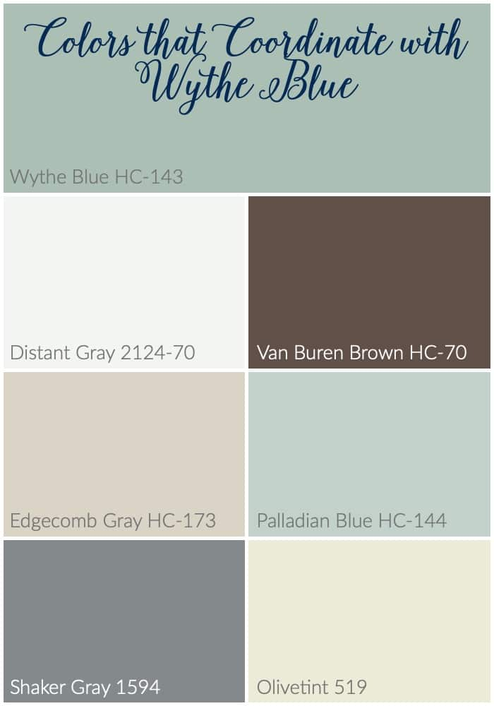 Colors that pair well with Wythe Blue #wytheblue #benjaminmoore #paintcolors #coordinatingcolors