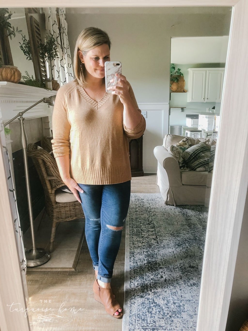 Fall Fashion Essentials | Fall Wardrobe Essentials Fall Transition Pieces | Camel Sweater | Distressed Jeans | Wedge Sandals