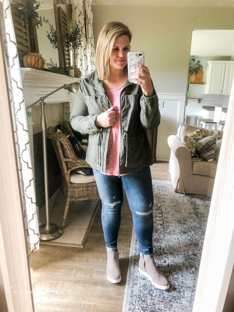 Fall Fashion Essentials | Fall Wardrobe Essentials Fall Transition Pieces | Green Field Jacket | Pink Polka Dot Tank | Wedge Sneakers