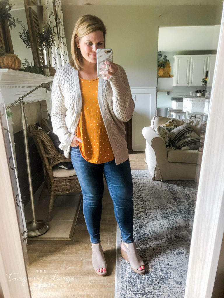 Fall Fashion Essentials | Fall Wardrobe Essentials Fall Transition Pieces | Honeycomb Cardigan | Mustard Tank | Open-Toe Wedge Booties