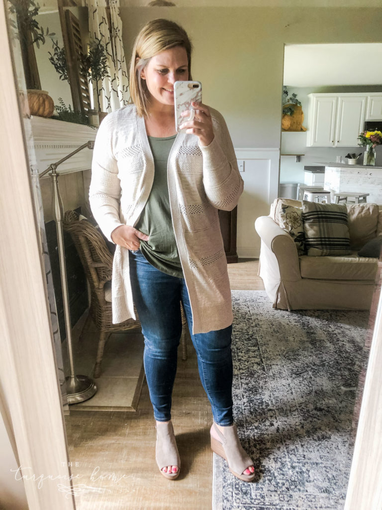 Fall Fashion Essentials | Fall Wardrobe Essentials Fall Transition Pieces | Olive Green Tank Top | Long Open Cardigan | Open-Toe Wedge Booties