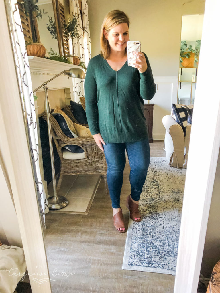 Fall Fashion Essentials | Fall Wardrobe Essentials Fall Transition Pieces | Heather Olive Green Tunic Sweater | Skinny Jeans | Open-Toe Wedge Booties